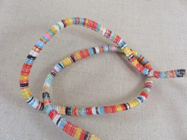 Cordon polyester rayé 7mm multicolore bracelet hippie - vendu au mètre
