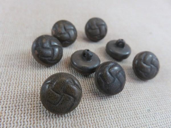 Boutons gravé nœud marron 15mm bouton couture vintage - lot de 8