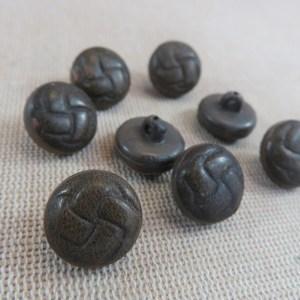 Boutons gravé nœud marron 15mm bouton couture vintage – lot de 8