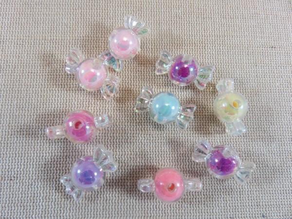 Perles bonbon multicolore acrylique 22mm - lot de 10