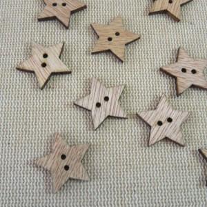 Boutons étoile en bois 19mm bouton de couture – lot de 10