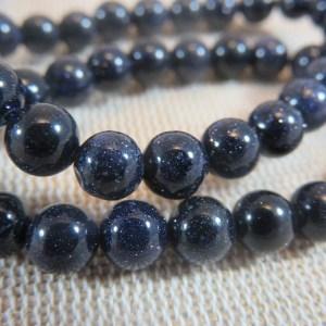 Perles naturelle bleu grès 6mm – lot de 10 pierre de gemme