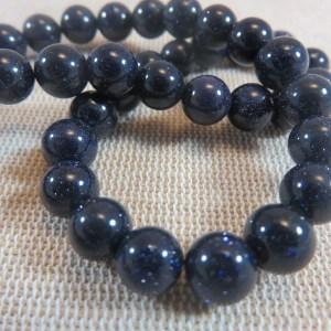 Perles naturelle bleu grès 8mm – lot de 10 pierre de gemme