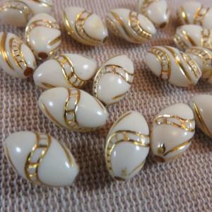 Perles ovale crème doré 13mmx8mm en acrylique – lot de 15