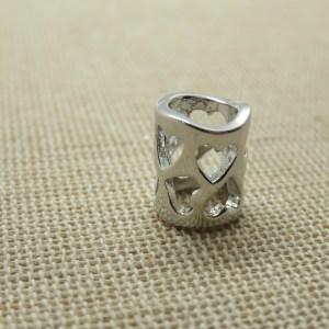 Perle colonne ajouré cœur cuivre argenté 12mm