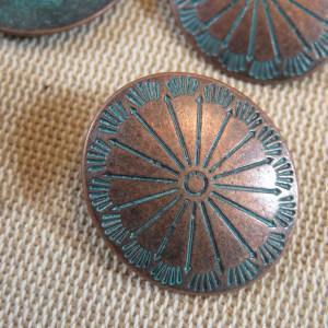 Boutons ovale bouclier métal cuivre patiné – lot de 4