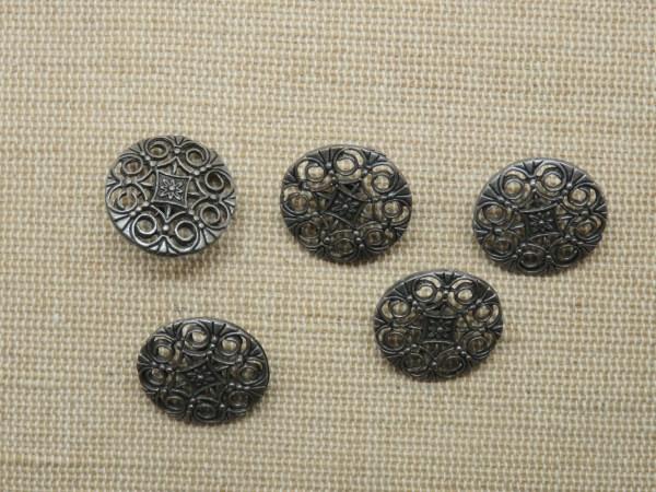 Boutons filigrané mandala fleur métal argenté 18mm rond - lot de 5
