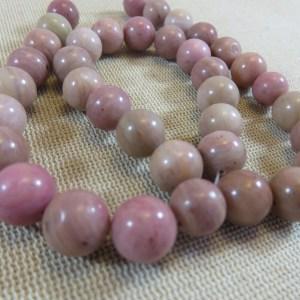 Perles Rhodonite 10mm ronde pierre de gemme - lot de 10