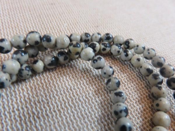 Perles Jaspe Dalmatien 4mm ronde - lot de 10 pierre de gemme
