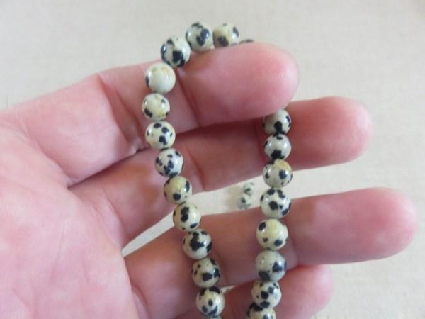 Perles Jaspe Dalmatien 6mm ronde - lot de 10 pierre de gemme