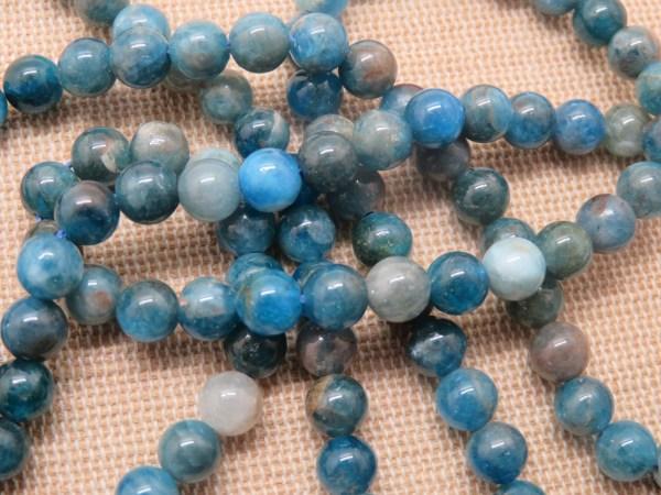 Perles Apatite 6mm ronde pierre de gemme - lot de 10