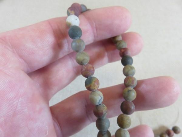 Perles Jaspe Picasso 6mm mat ronde - lot de 10 pierre de gemme