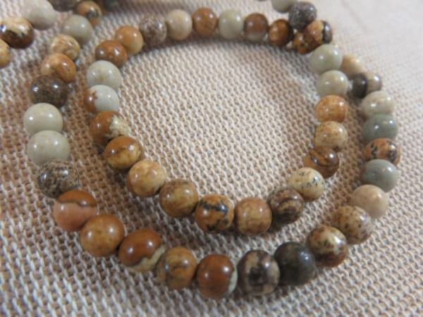 Perles Jaspe 4mm marron crème ronde - lot de 10 pierre gemme