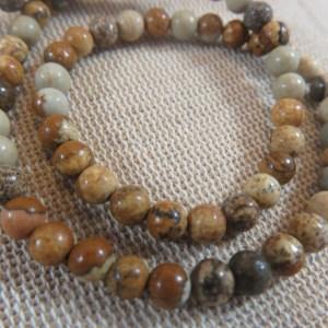 Perles Jaspe 4mm marron crème ronde – lot de 10 pierre gemme