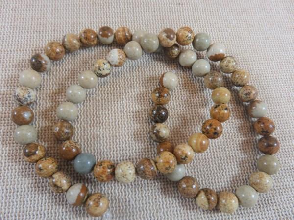 Perles Jaspe 6mm marron crème ronde - lot de 10 pierre gemme