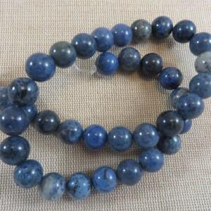 Perles Jaspe bleu 10mm ronde – lot de 10 pierre de gemme