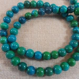 Perles Chrysocolle 6mm ronde bleu-vert – lot de 10