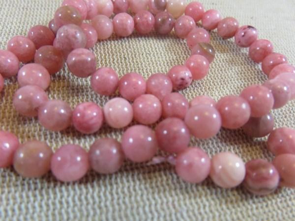 Perles Rhodochrosite 6mm ronde rose pierre de gemme - lot de 15