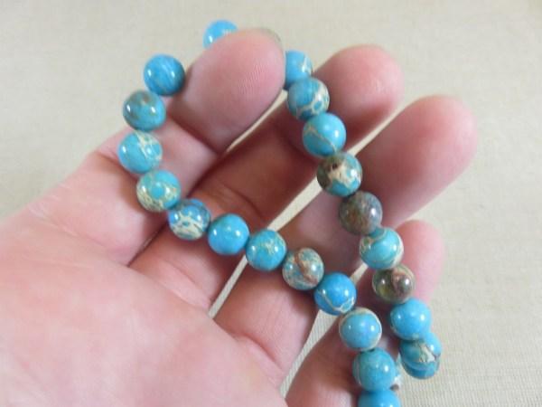 Perles Jaspe bleu 8mm ronde effet sédiment marin - lot de 10 pierre de gemme