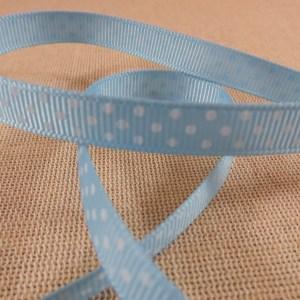 Ruban 10mm bleu à pois blanc gros grain – vendu par 3 mètres
