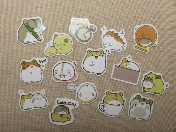 étiquettes autocollant Hamster scrapbooking - stickers papier pour décoration / 15pcs