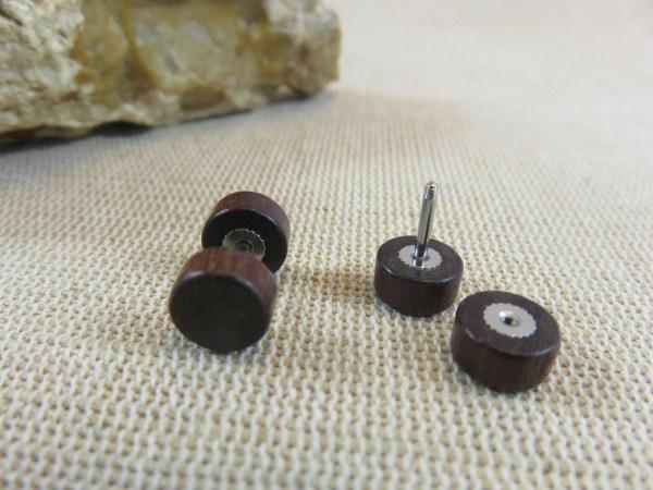 Puces en bois Marron 8mm double face Boucles d'oreille mixte - bijoux femme et homme