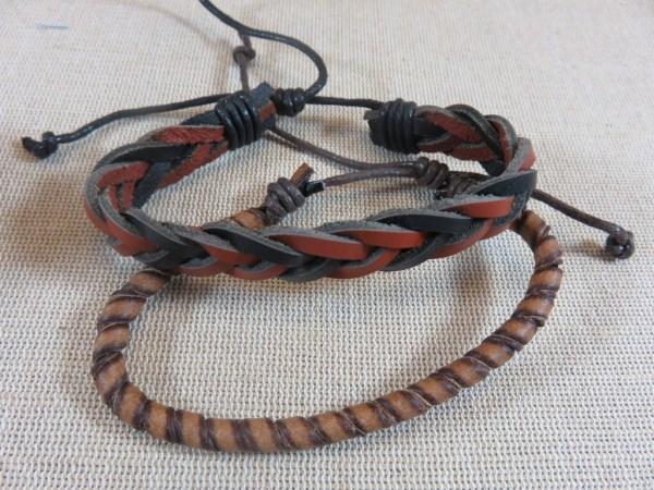 Bracelet de couple punk pour homme et femme - bijoux cordon cuir marron