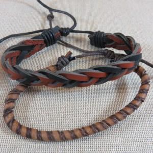 Bracelet de couple punk cuir marron bijoux homme et femme