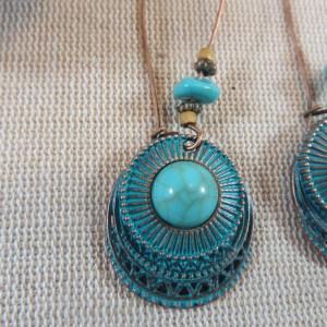 Boucles d'oreille ethnique cabochon bleu turquoise bijoux pour femme