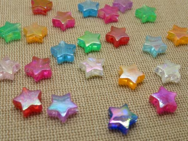 Perles étoile acrylique 11mm multicolore - lot de 25