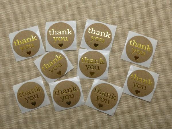 Étiquettes Thank You autocollante cœur doré - lot de 25 stickers rond 25mm