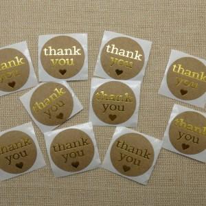Étiquettes Thank You autocollante cœur doré – lot de 25 stickers rond 25mm