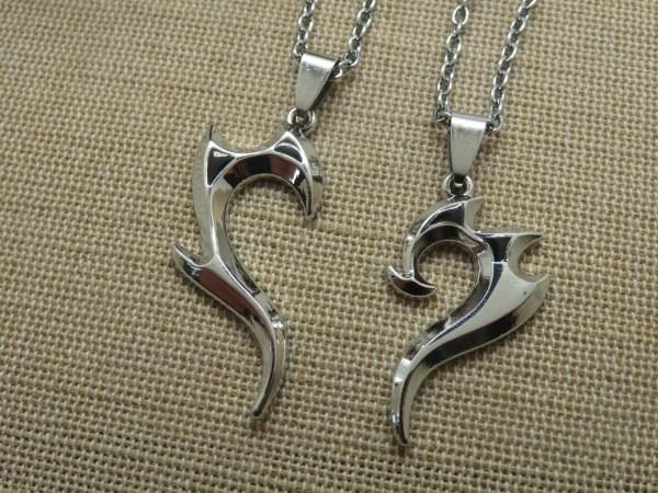 Collier de couple cœur tribal argenté - bijoux pour couple - lot de 2 colliers pour Femme et Homme