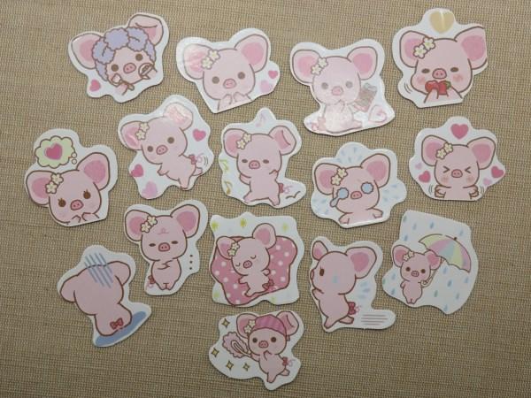 étiquettes autocollant cochon kawaii scrapbooking animaux / 15pcs