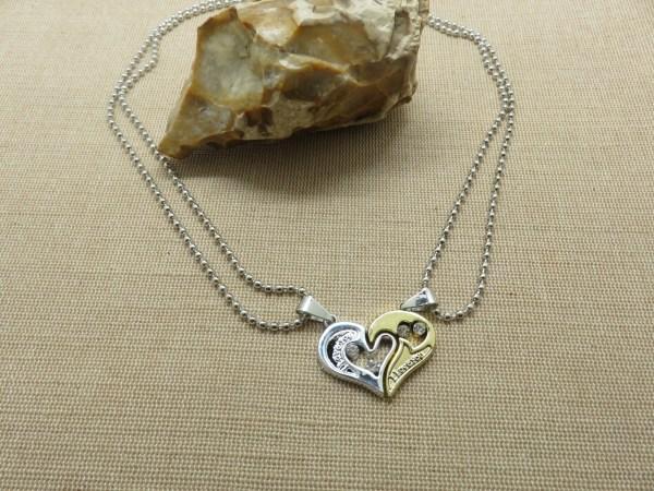 Collier cœur yin yang argenté doré - cadeaux bijoux de couple