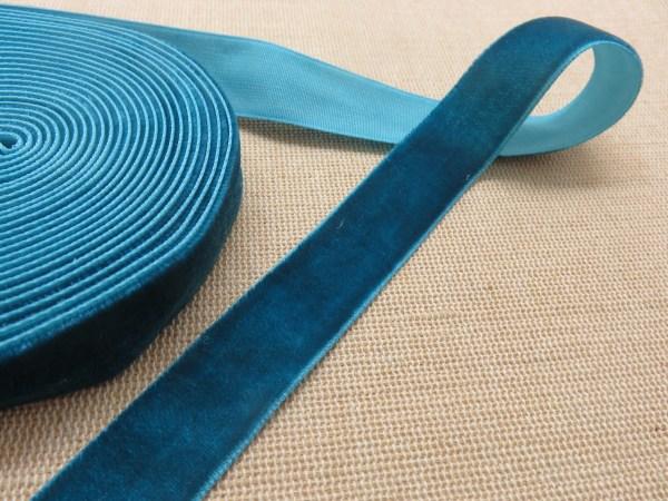 Ruban velours bleu vert 16mm - vendu par 2 mètres