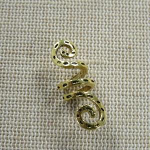 Perle colonne serpent doré cheveux dreadlocks 29x10mm