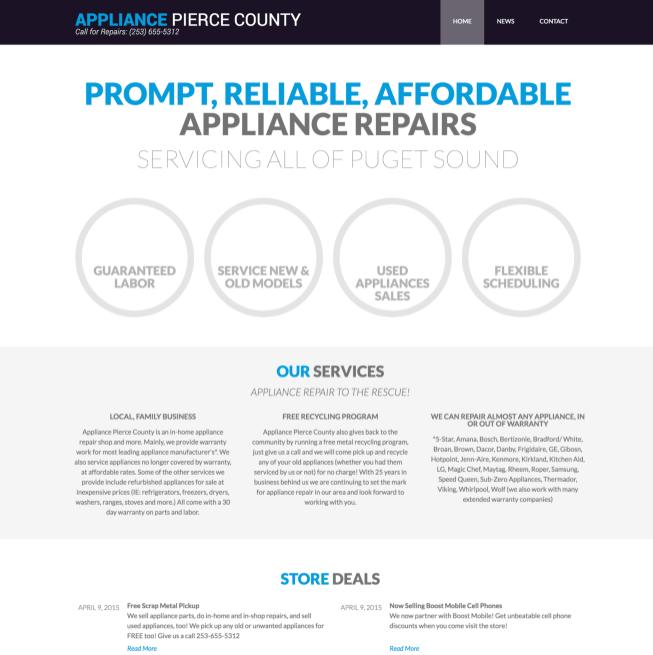 Web Design - Appliance Pierce County