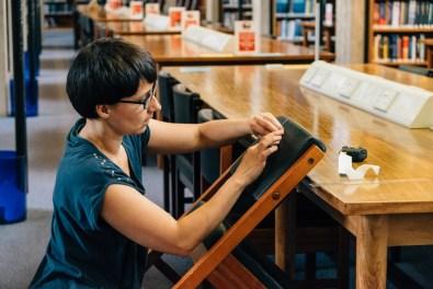 AnnaMaria Kardos installing at the Marshall Library of Economics
