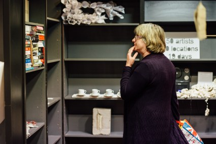 Browsing the Shelf Life exhibition