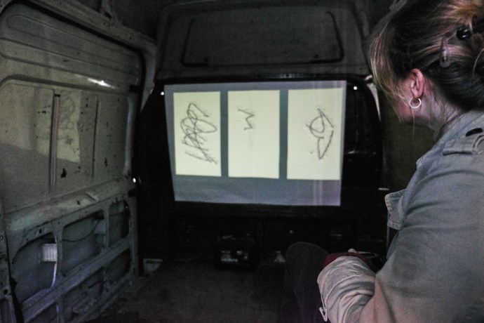 Inside Mocksim's delivery van at the CU Sidgwick Site