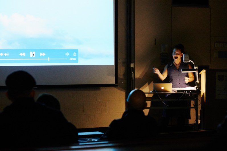 Tara Tate's spoken word and video performance at the Little Hall, CU Sidgwick Site