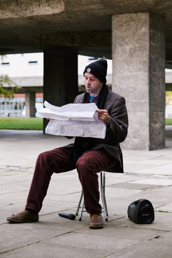 Marc Renshaw reading the Sporting League results at the CU Sidgwick Site
