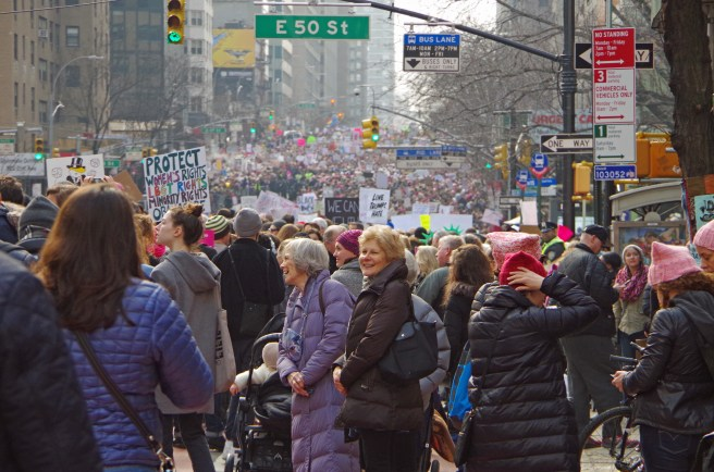 New York, New York, USA- January 21, 2017: Protesters gather for women's march in Manhattan, New York.