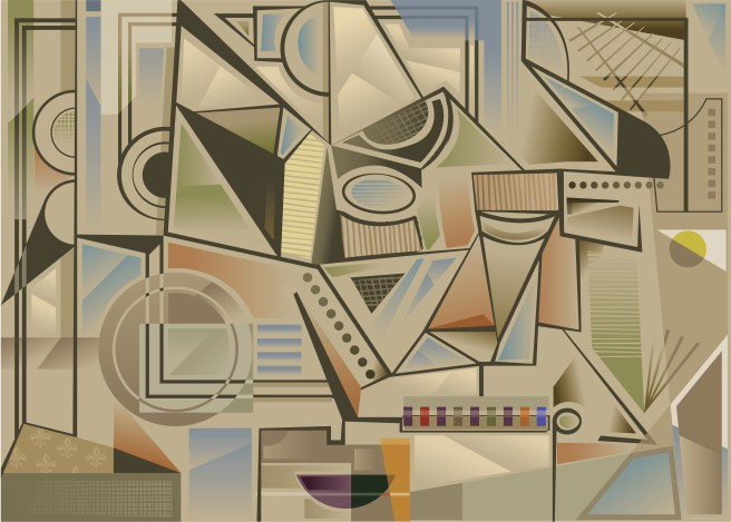 An abstract background in a Cubist style,