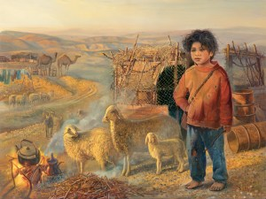 Bedouin shepherd, Painting by Alex Levin