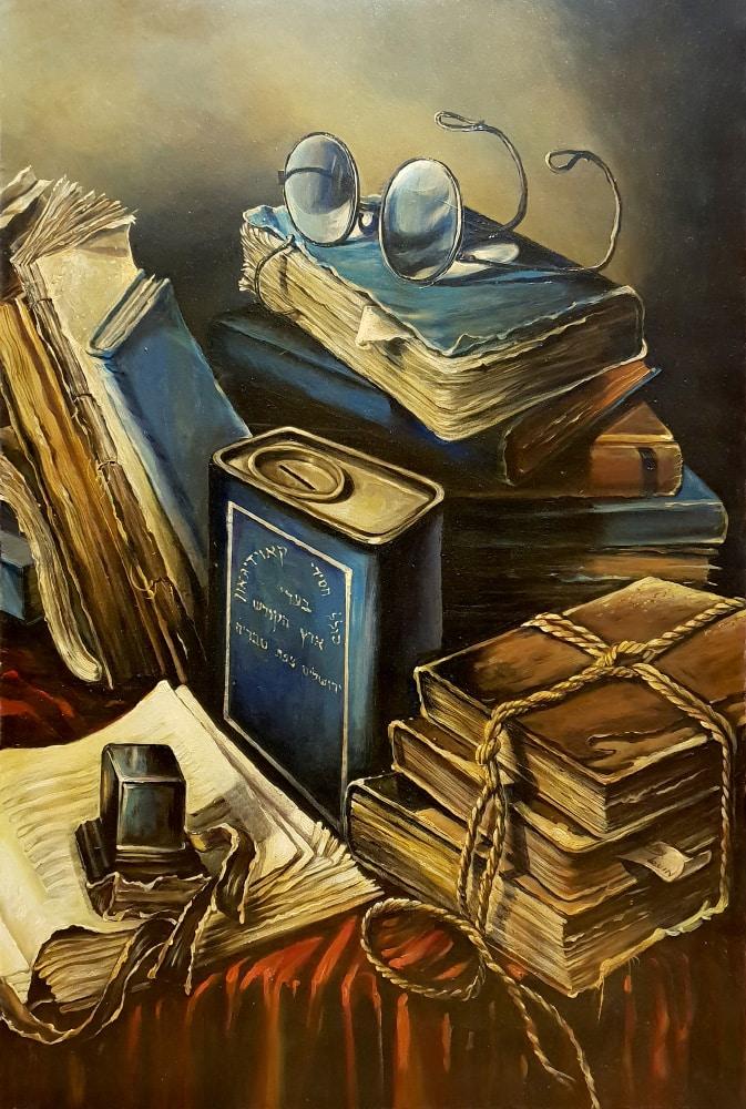 Oil Painting Books : painting, books, Original, Painting:, Still, Books, Glasses, Levin
