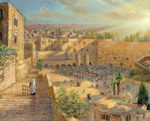 Sunrise behind the Kotel, Painting by Alex Levin