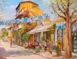 Independence day in Nevei Zedek, Painting by Alex Levin