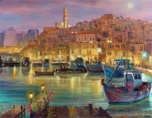 There's a moon over Jaffa port tonight, Painting by Alex Levin